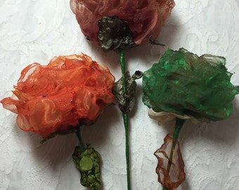 Three organza roses, organza flowers, wire stem, leaves, fused fabric, red, orange, black, brown, cerise, purple, more colours