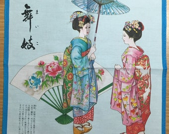Vintage Handkerchief Japanese Girls in traditional Kimono dress