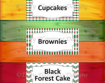 Party Food Tent Cards, Red Green, Holiday Party - Christmas Feast, Party Supplies, DIY Customizable, Instant Download - TFD422