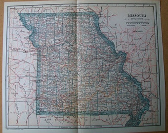 "Vintage 1925 Map of Missouri - 9"" x 11"""