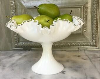 Milk Glass Compote / Fenton Silvercrest Compote