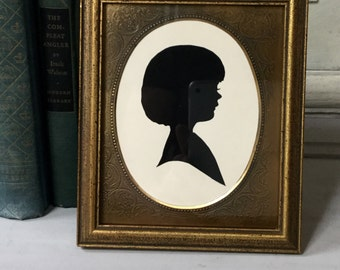Vintage Child's Silhouette / Gold Picture Frame With Silhouette / Hand-cut Silhouette