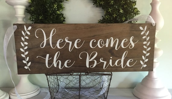 Here Comes The Bride Ring Bearer Sign Rustic Wedding