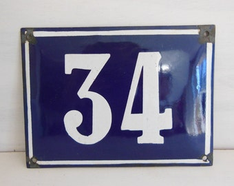 Antique vintage French enamel HOUSE DOOR NUMBER 34. Blue and white. Large