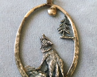 1988 Sterling Silver Wolf Pendant C. Mcgregor Free Shipping