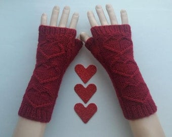EXPRESS SHİPPİNG!Dark Red Heart Hand-Knitted Fingerless Gloves/Winter Accessories/ReyyanCrochet