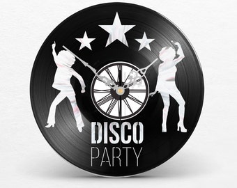 Wall clock vinyl Theme DISCO Dance Dancing