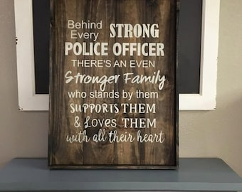 Police Officer' Family Wood Sign