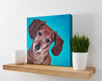 Dachshund Print - Dog Art - Weiner Dog Art - Doxie Painting - Blue Decor - Dog Wall Art - Doxie Art Print - Dog Canvas Art - Dachshund Art