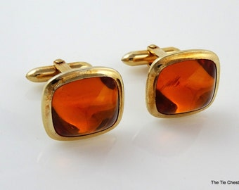 Vintage Cufflinks Correct Orange Cabochon