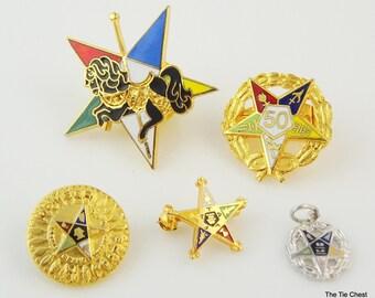 Lot of Eastern Star Masonic Pins and Pendant Vintage Masonic
