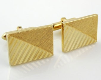 Vintage Swank Cufflinks Gold Tone Simple Classy Cuff Links