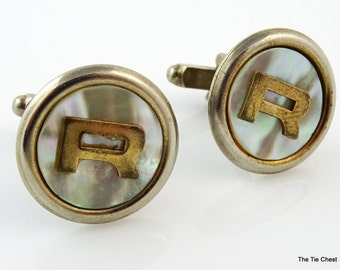 Vintage Cufflinks Letter R Initial Round Personalized Cuff Links