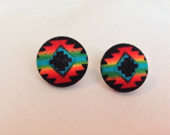 Tribal Print Button Earrings
