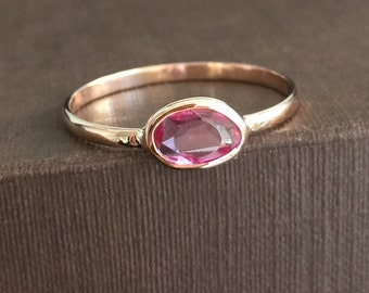 14k solid rose gold and rose cut pink sapphire ring, free form, unique shape, pink sapphire