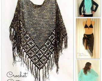 Crochet Shawl Pattern, Crochet Cover Up Pattern, Crochet Fringe Scarf Pattern, Spider Stitch Shawl Pattern Crochet, Summer Crochet Pattern