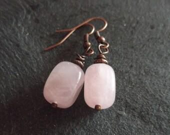 Pretty Pink Rose Quartz Gemstone & Copper Earrings