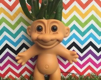 Troll Doll Planter, succulent planter, cactus planter, air planter, troll doll