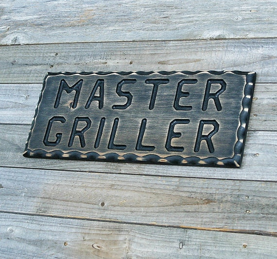 Man Cave Bbq Signs : Bbq sign master griller wood man cave by