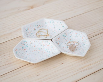 Small Geometric Ring Dish set of 3 in Sprinkles.