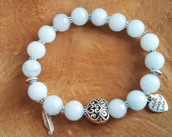 Handmade bracelet/ natural gemstones Aquamarine 10 mm beads/Elastic wire 17.5 cm long/ Stunning lightblue / grey colour