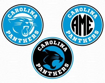 Carolina Panthers Monogram Frames (SVG, EPS, DXF, Studio3) Super Bowl Cut Files for Silhouette Studio, Cricut Design Space, Cutting Machines