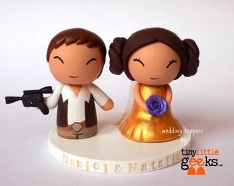 Wedding Cake Topper - Star Wars inspired (Han & Leia)