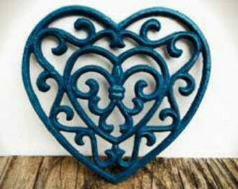 BOLD TRIVET teal blue// ornate heart floral design // rustic shabby cottage chic // french country kitchen decor