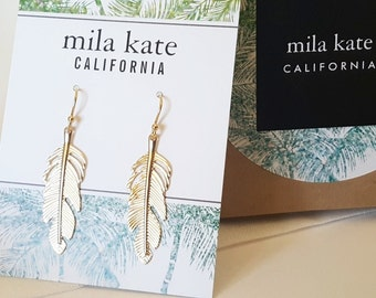 Laura Earrings - Gold Feather