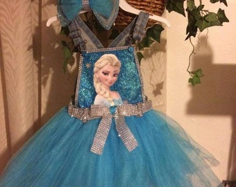 Frozen denim  tutu overalls with matching bow