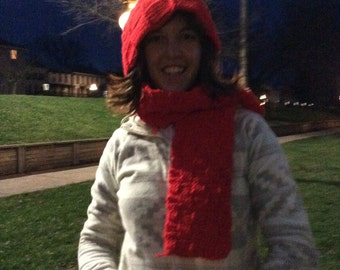 Red Basket Weave Hat and Scarf Combo