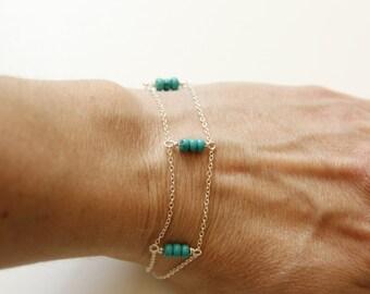silver gemstone bar bracelet, Sterling silver bead bar bracelet, skinny bead bar bracelet, silver multi-chain bracelet