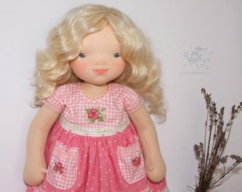 """waldorf inspired doll Rosy Cotton (ooak doll 17"""") 43 cm"""