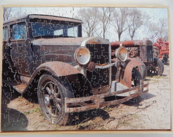 Wooden Jigsaw Puzzle. Auction Car
