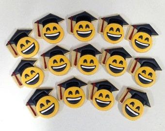 Graduation Emoji Cookies/ Emoji Cookies with Graduation Caps, Graduation Gift Cookies
