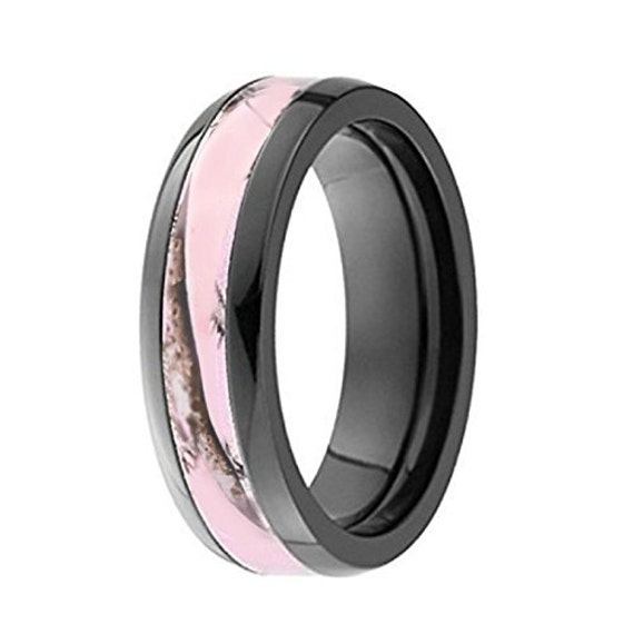 Pink Womens Camo Black Titanium Hunting Wedding Band Ring