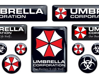 Resident Evil Umbrella Corporation 3d domed stickers