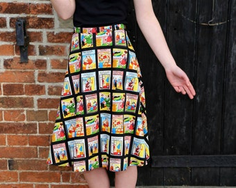 Naughty Postcards A line summery Rockabilly skirt. made to order in any size