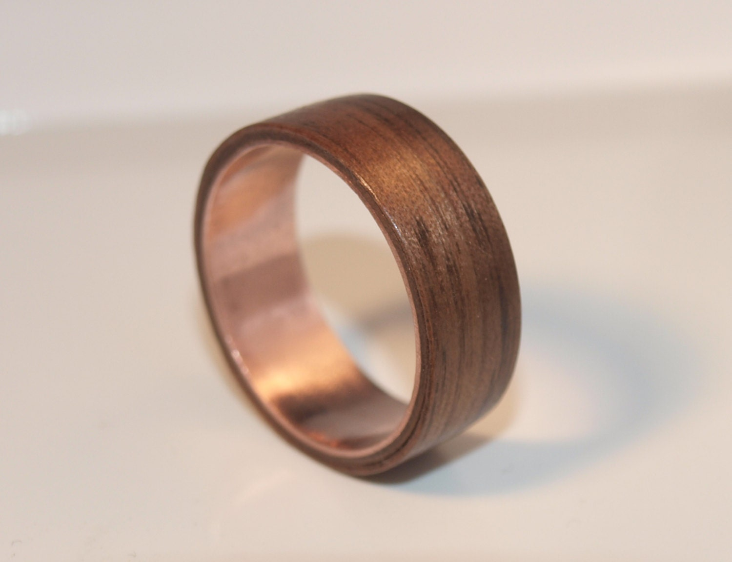 Wooden rings bentwood forged copper and walnut rings mens for Mens copper wedding rings