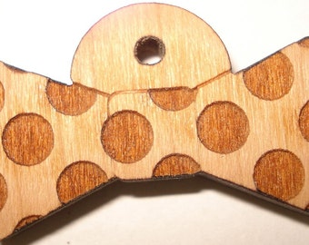 Dog Pet ID Tag Custom Laser Engraved Polkadots Bowtie Bow Tie Solid Cherry Wood Personalized