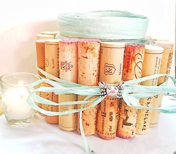 Cork Art Wedding: Candle Holder-wedding Decor-Recycled Wine Cork Decor-home