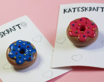 DOUGHNUT BROOCH | Hand Sculpted, Hand Painted Polymer Clay Jewellery Accessory