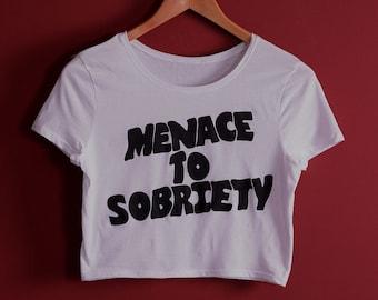 Valentines Sale! Menace to Sobriety 50/50 WHITE Crop Top black sabbath METAL