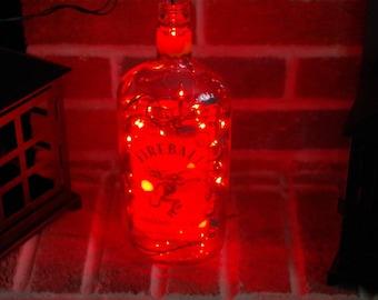 Light Up Liquor Bottle Lamp- Fireball - Lighted Decorated Bottle / Lamp / Bar / Party / Night Light