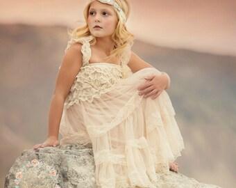 Flower Girl Dress, Rustic flower girl dress, Vintage Flower Girl Dress, Shabby Chic Flower Girl ,Ivory lace dress, country flower girl dress