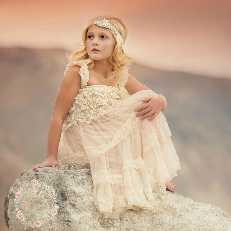 Ivory Lace Flower Girl Dress Vintage Flower Girl By