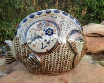 """Large 13 1/2"""" Fish Signed by J. Santana from Tonala Mexico Folk Art Pottery"""
