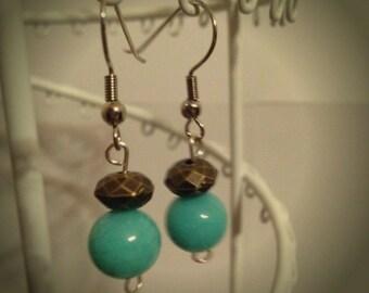 Turquoise Earrings, Small Earrings, Cute Earrings, Dangle Earrings, Light Weight Earrings