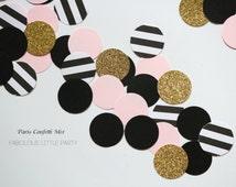 Paris Confetti Table Decorations Bridal Shower/1st Birthday Decor/Baby Shower/Kate Spade Gold Glitter/Black/Blush Pink/Black&White Stripes