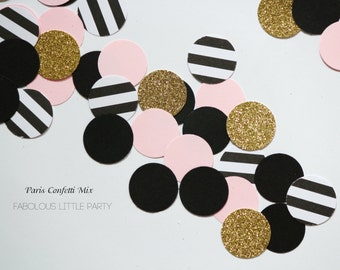 Paris Confetti Table Decorations Bridal Shower/1st Birthday Decor/Baby Shower/Kate Spade Gold Glitter/Black/Blush Pink/Black&White Stripes